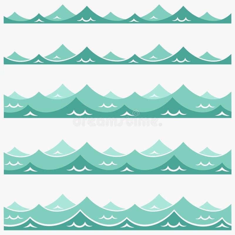 Błękitnego fala oceanu abstrakta wzoru dennego wektorowego ilustracyjnego tła tapety wody kolekci kolorowy set royalty ilustracja