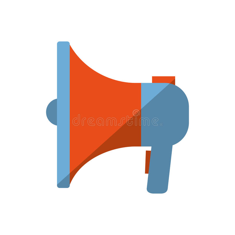 Błękitnego i pomarańczowego megafonu marketingu koloru głośnikowy cień ilustracja wektor