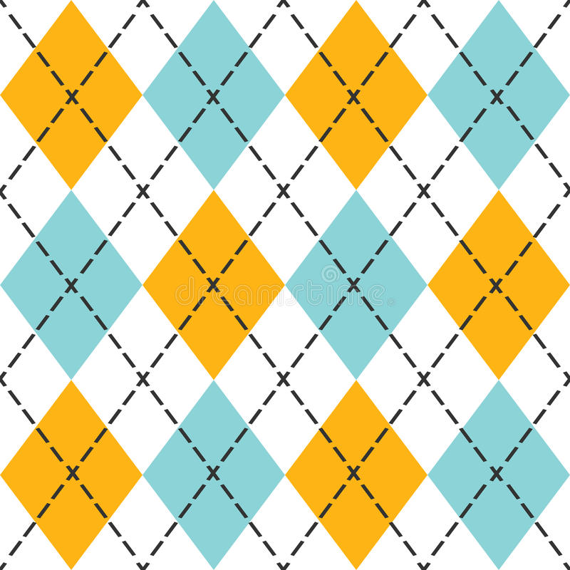 Błękitnego i pomarańczowego modnego argyle bezszwowy wzór royalty ilustracja