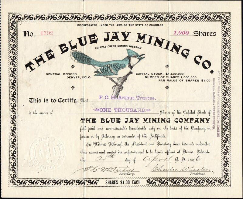 1896 BŁĘKITNEGO JAY firmy górniczej Akcyjny świadectwo - kaleki zatoczka, Kolorado fotografia royalty free