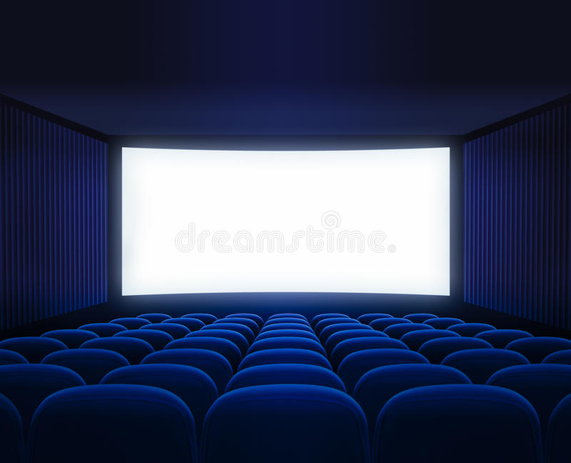 Błękitnego kina pusta sala z pustym ekranem dla filmu zdjęcia royalty free