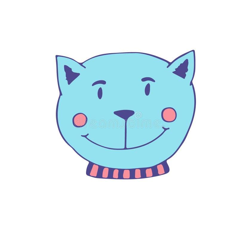 Błękitnego kota ikona Wektorowy druk dla plakata, majcher, koszulowy projekt ilustracja wektor