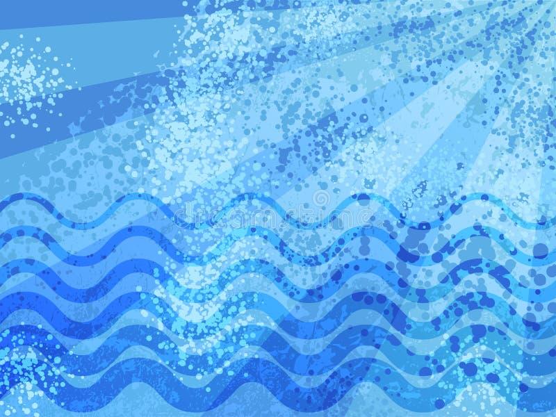 Błękitnego lata kreskówki abstrakta denny tło Grunge łaciastych halftones nowożytny tło Cierpienie uszkadzająca fala i słońca pro ilustracja wektor