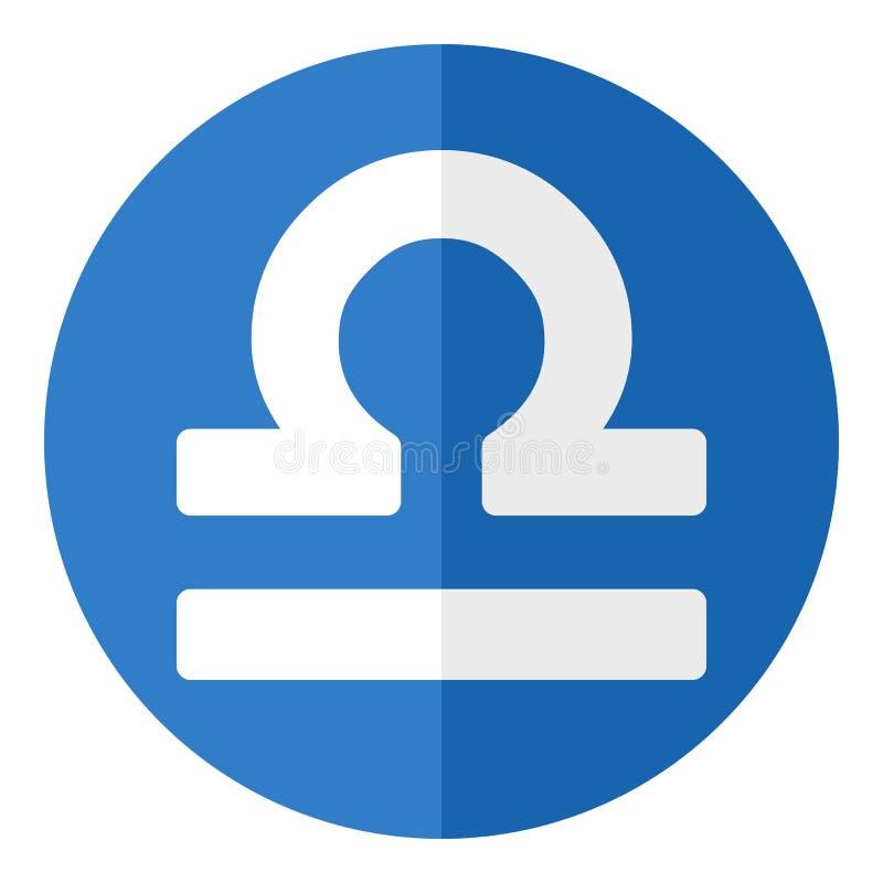 Błękitnego Libra zodiaka znaka Płaska ikona na bielu ilustracja wektor
