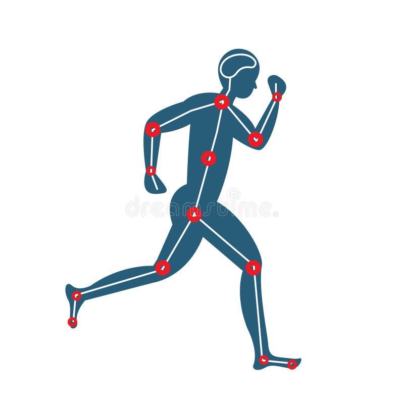 Błękitnego mężczyzny ikony działający projekt, biegacz, jogging, zdrowie, radość, atleta, bieg, bieg illustrato royalty ilustracja
