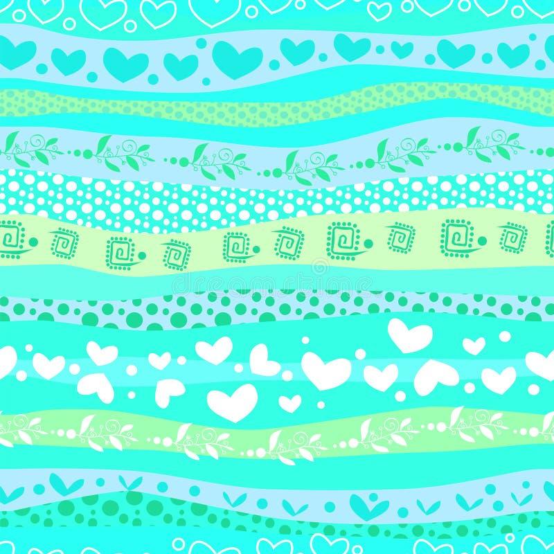 Błękitnego miłości Valentin's dzień Macha Bezszwowego tło royalty ilustracja