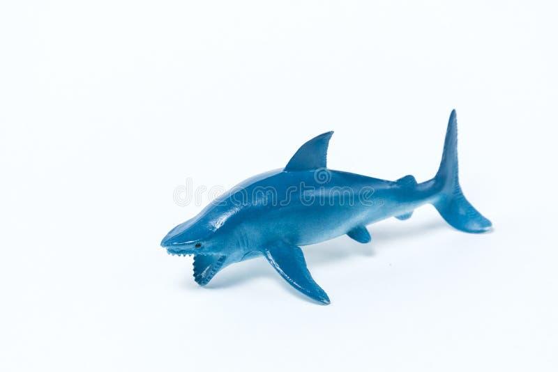 Błękitnego rekinu zabawka na białym tle fotografia royalty free
