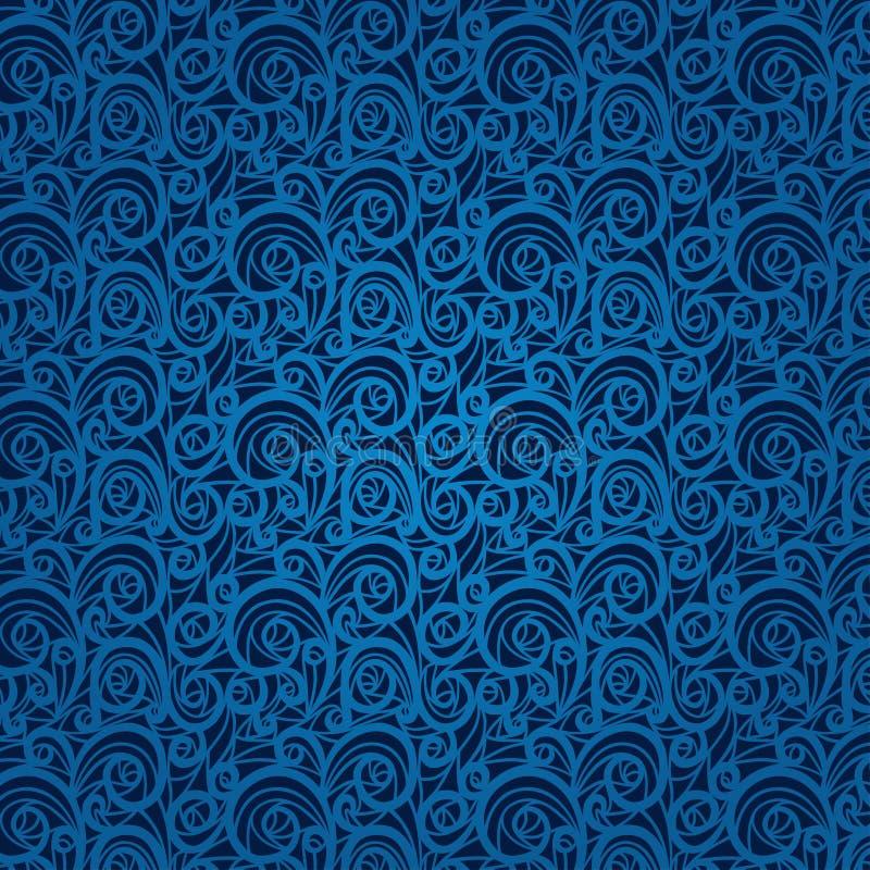 Błękitnego rocznika kwiecisty wzór na ciemnym tle royalty ilustracja