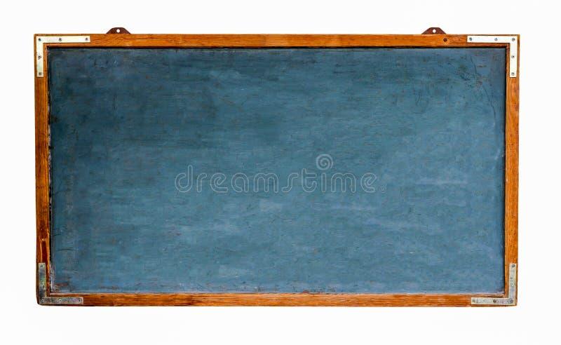 Błękitnego starego grungy rocznika drewniany pusty szeroki chalkboard lub retro blackboard z wietrzeję odosobniony na bielu i ram zdjęcia royalty free