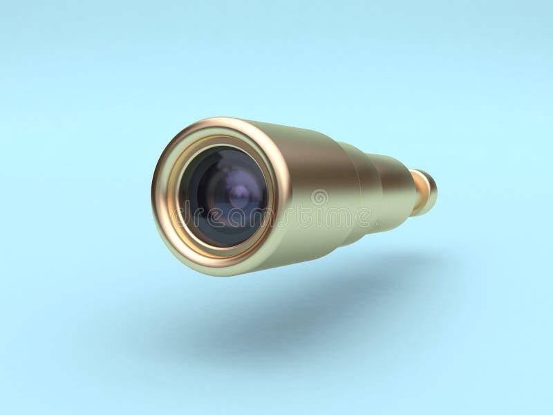 błękitnego tła obiektywu kamery 3d złocisty rendering ilustracji
