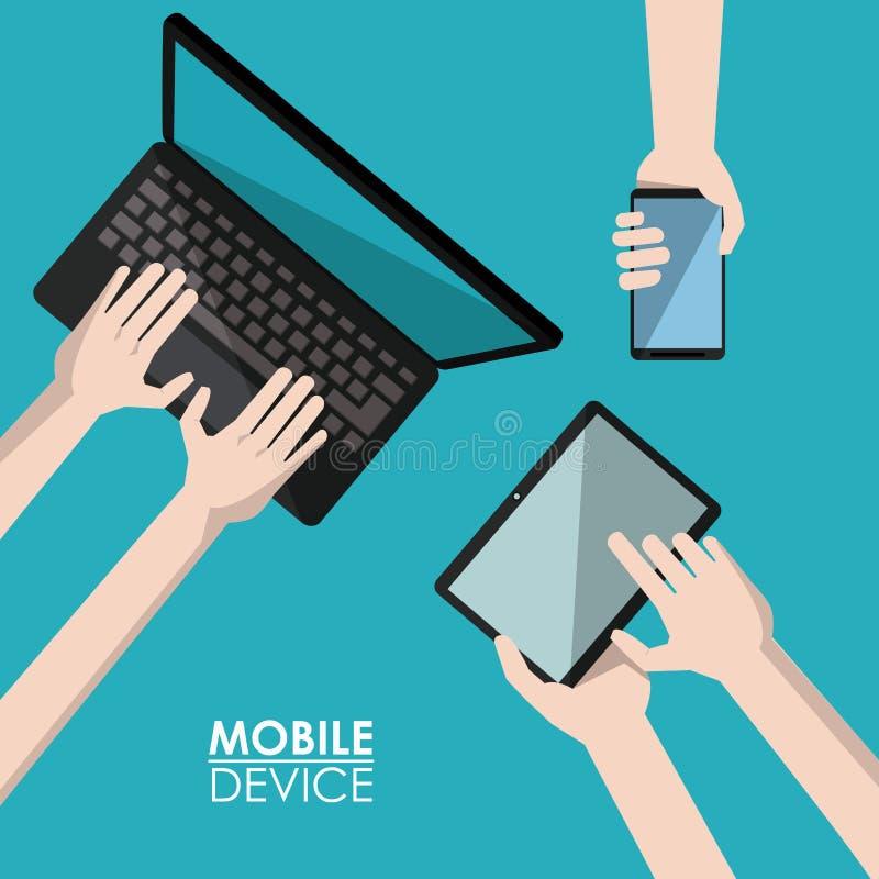Błękitnego tła plakatowy urządzenie przenośne z laptopem, smartphone i pastylka ilustracji
