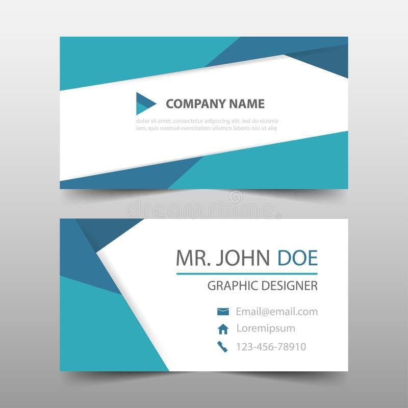 Błękitnego trójboka korporacyjna wizytówka, imię karty szablon, horyzontalny prosty czysty układu projekta szablon, Biznesowy szt royalty ilustracja