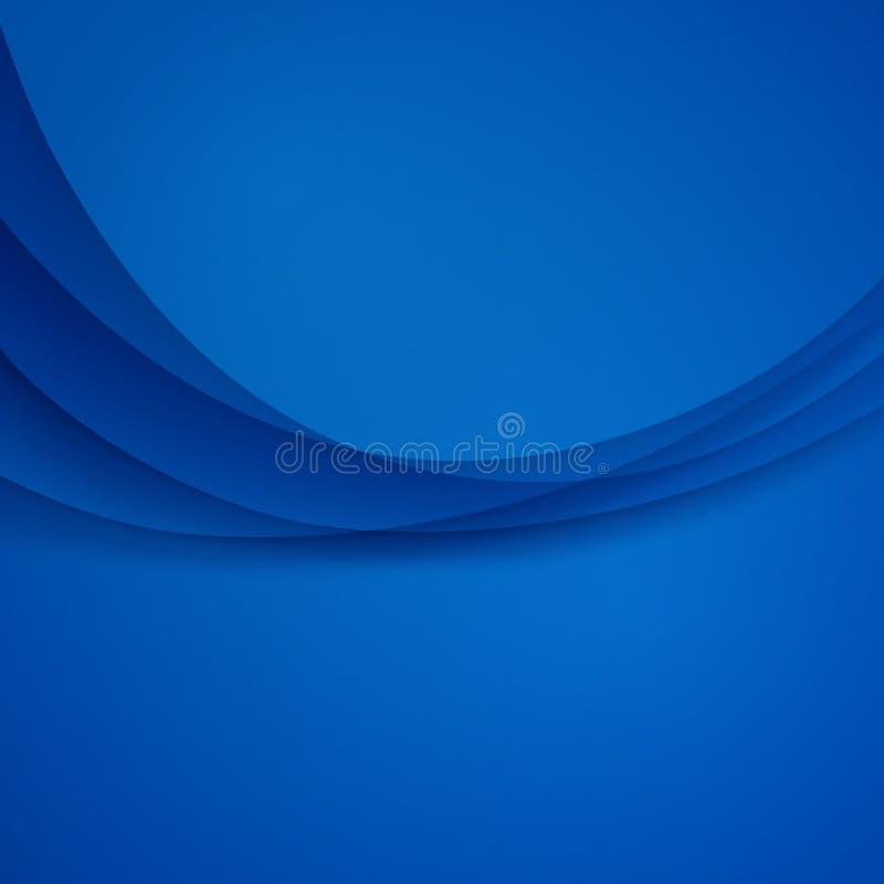 Błękitnego wektorowego szablonu Abstrakcjonistyczny tło z krzywa cieniem i liniami Dla ulotki, broszurka, broszura, strona intern royalty ilustracja