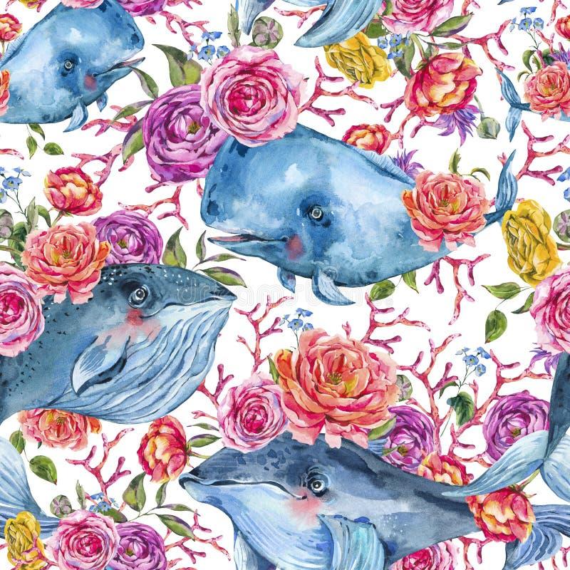 Błękitnego wieloryba akwareli bezszwowy wzór z wzrastał, anemony, lato kwiaty Nautyczny cyfrowy papier ilustracji