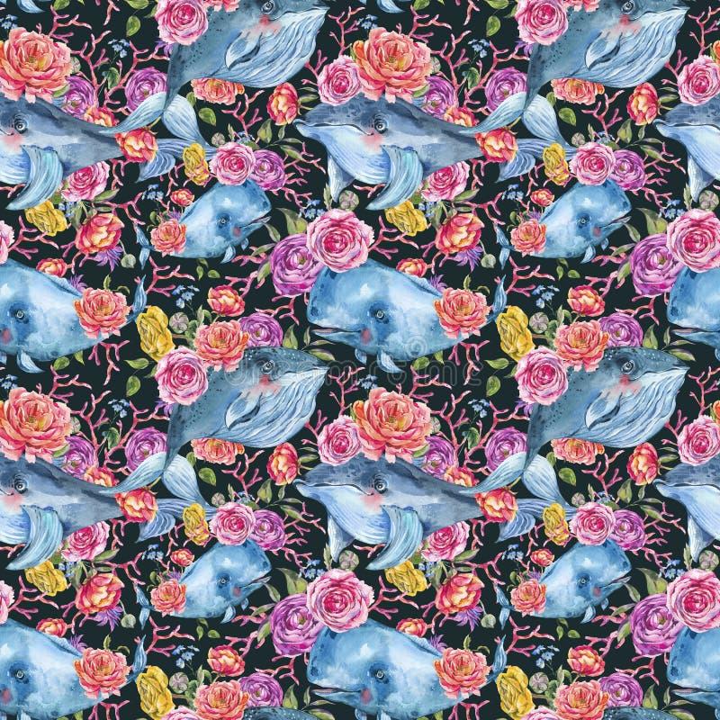Błękitnego wieloryba akwareli bezszwowy wzór z wzrastał, anemony, lato kwiaty Nautyczny cyfrowy papier ilustracja wektor