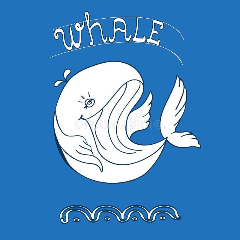 Błękitnego wieloryba ikona z wodną fontanną ilustracji