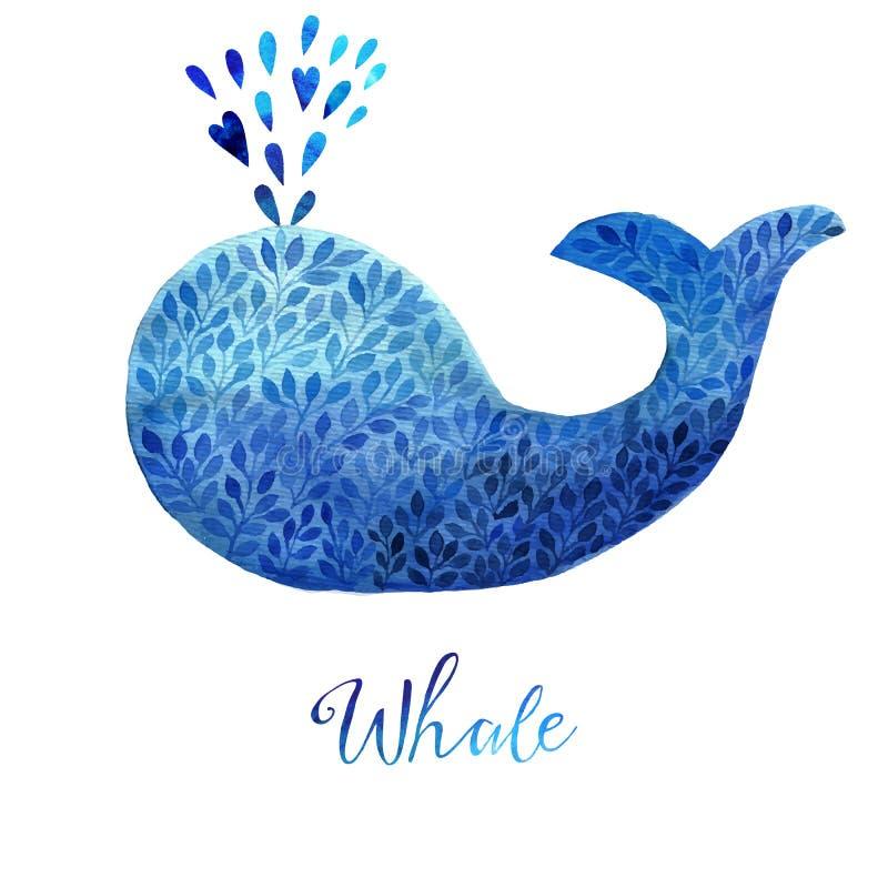 Błękitnego wieloryba ilustracja Akwarela wieloryb Wektorowa ilustracja akwarela wieloryb, robić błękitny kwiatu ornament royalty ilustracja