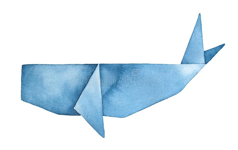 Błękitnego wieloryba Origami watercolour ilustracja Symbol sen, fantazja, podróżuje royalty ilustracja