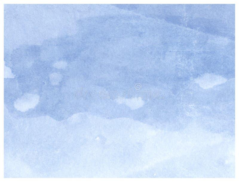 Błękitnej akwareli abstrakcjonistyczny artystyczny textured tło dla projekta Farby pluśnięcie na papierowej teksturze zdjęcie stock