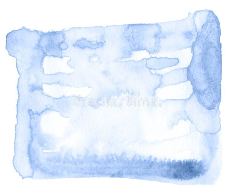 Błękitnej akwareli obmycia pociągany ręcznie odosobniona plama na białym tle dla teksta, projekt Abstrakcjonistyczna tekstura rob ilustracja wektor