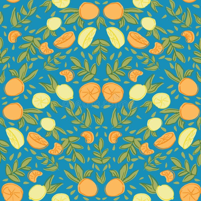 Błękitnej cytrus cytryny powtórki wzoru pomarańczowy bezszwowy projekt ilustracja wektor