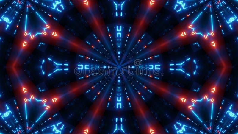 Błękitnej czerwieni scifi kalaidoscope z rozjarzonym wzorem royalty ilustracja