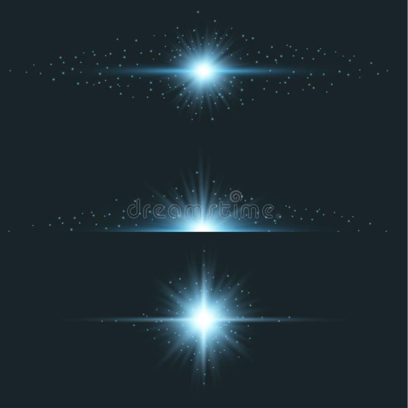 Błękitnej gwiazdy światła racy skutek ilustracja wektor