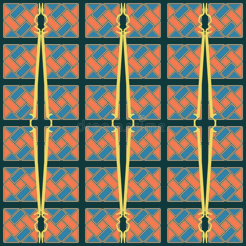 Błękitnej i pomarańczowej cegły spirali diagonalnej tekstury bezszwowy wzór ilustracja wektor