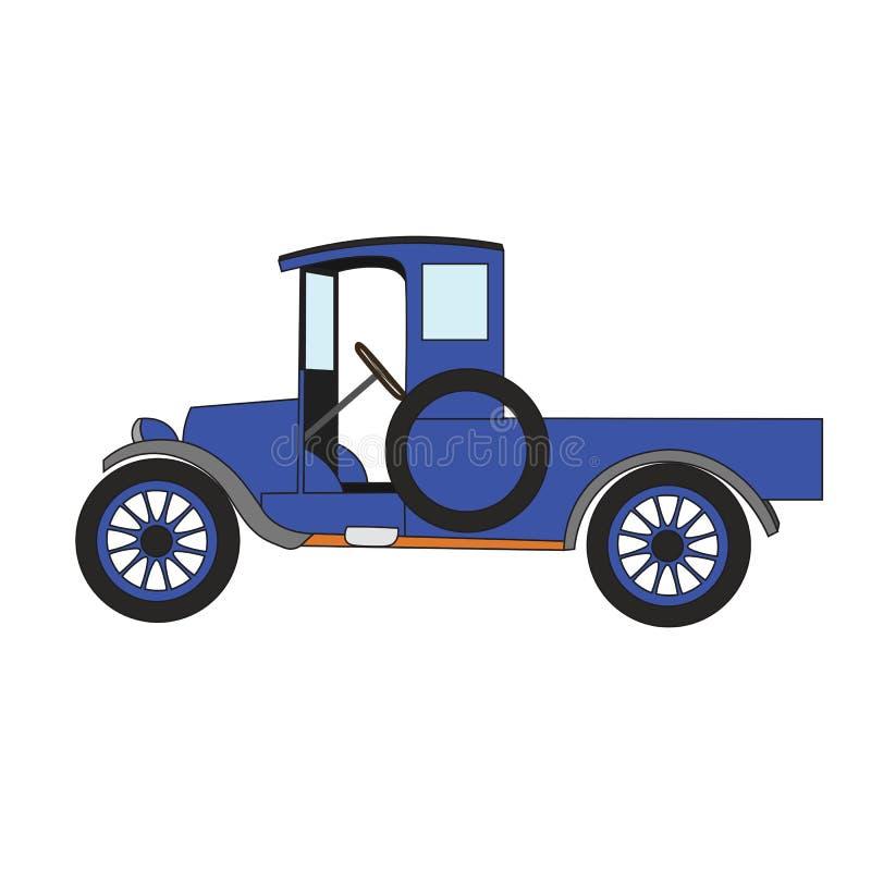 Błękitnej kreskówki retro samochód ilustracja wektor