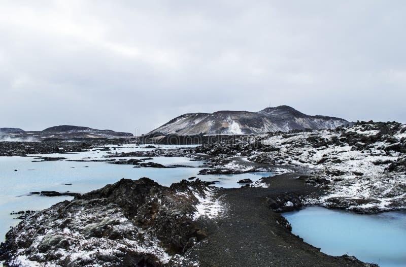 Błękitnej laguny geotermiczny kąpielowy kurort w wnter zdjęcia royalty free