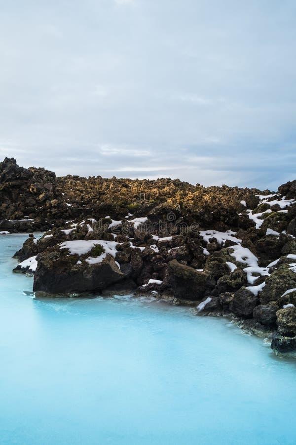 Błękitnej laguny geotermiczny zdrój w Iceland Błękitna laguna jest famou obraz stock