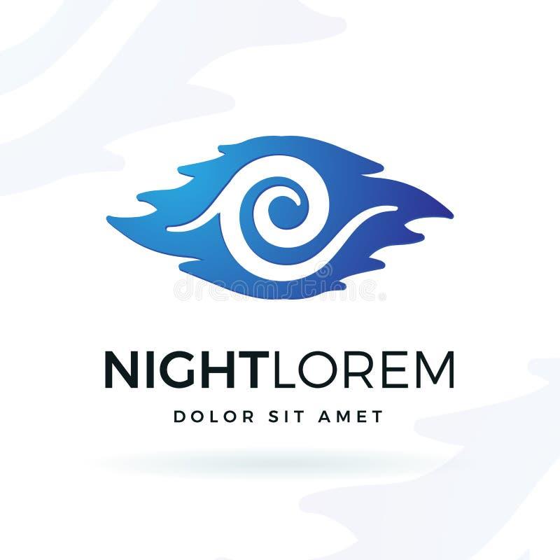 Błękitnej nocy projekta wektorowy element Nowożytny falowego kształta symbolu loga pojęcie royalty ilustracja