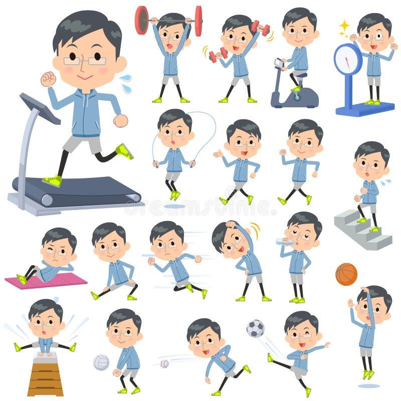 Błękitnej odzieży tata szklani sporty & ćwiczenie ilustracja wektor