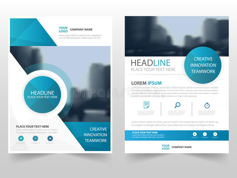 Błękitnej okrąg technologii broszurki ulotki ulotki sprawozdania rocznego szablonu biznesowy projekt, książkowej pokrywy układu p ilustracji