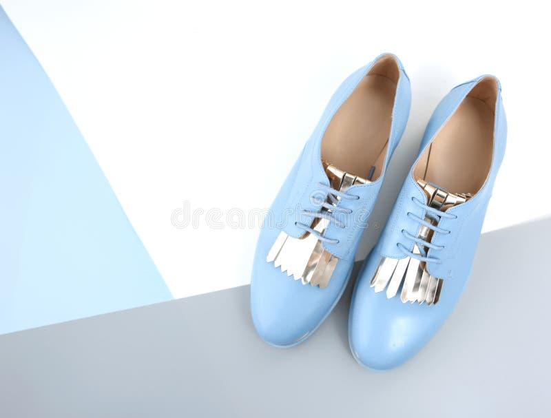 Błękitnej rzemiennej damy płascy buty z koronkowym odgórnym widokiem opróżniają backgroun zdjęcie royalty free