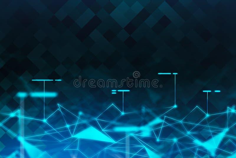 B??kitnej sieci poligonalny futurystyczny t?o royalty ilustracja