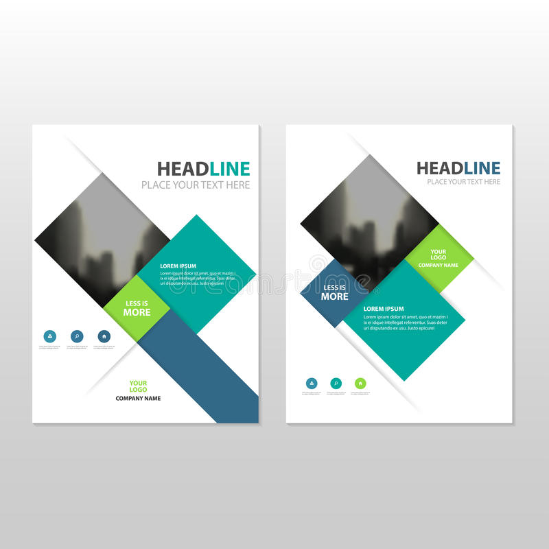 Błękitnej zieleni kwadrata sprawozdania rocznego ulotki broszurki ulotki szablonu Wektorowy projekt, książkowej pokrywy układu pr royalty ilustracja