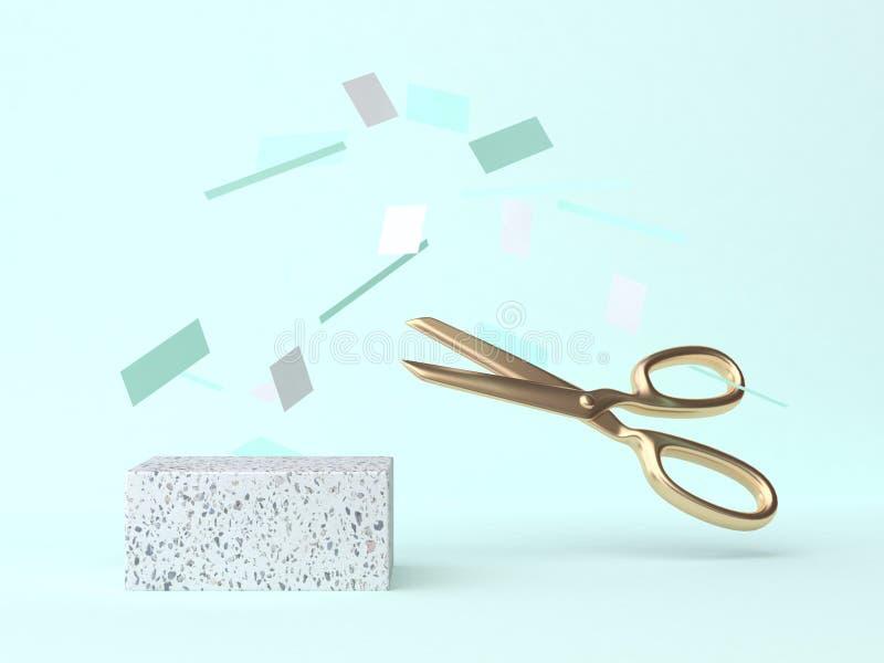 Błękitnej zieleni sceny pracownianego papieru nożyc 3d spławowy złocisty rendering ilustracja wektor