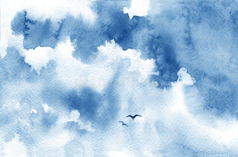 Błękitni akwareli chmura, ptaki i niebo, Wiosna, lato tło ilustracji