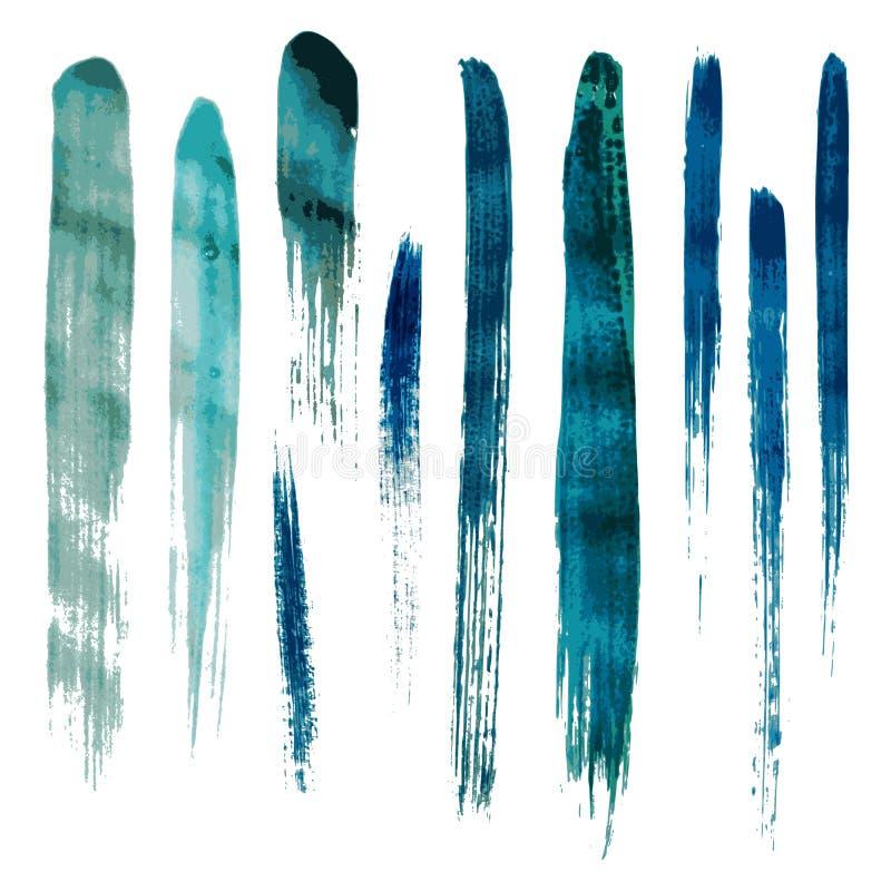 Błękitni akwareli muśnięcia wektoru uderzenia ilustracja wektor