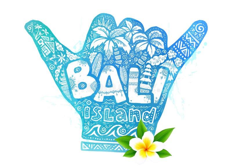 Błękitni akwareli shaka surfingowowie wręczają symbol z białym doodle literowania inside i realistycznym wektorowym frangipani kw ilustracji