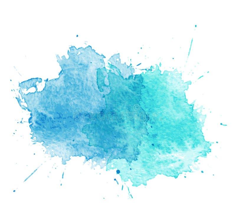 Błękitni akwareli splatters. Wektor ilustracja wektor