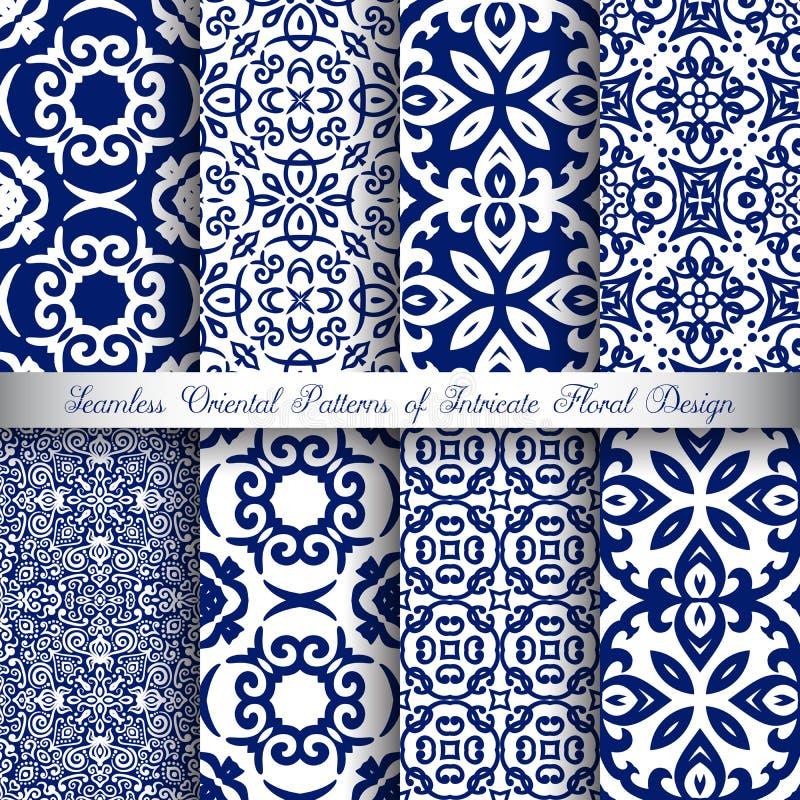 Błękitni arabesk wzory ilustracja wektor