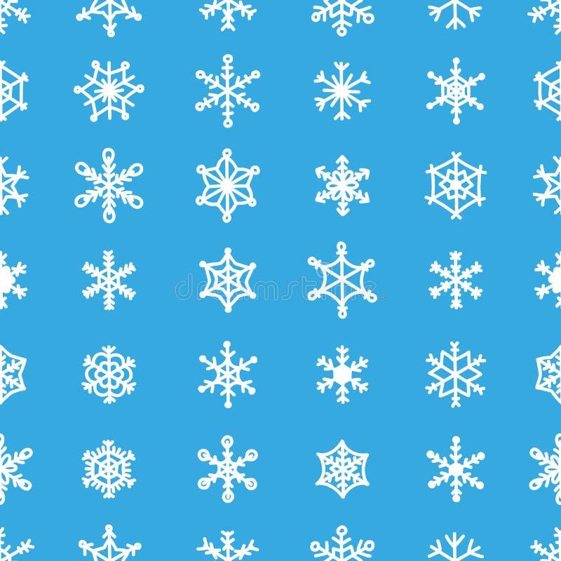 Błękitni bezszwowi 30 płatka śniegu wzoru różnorodni typ ornamenty ilustracji