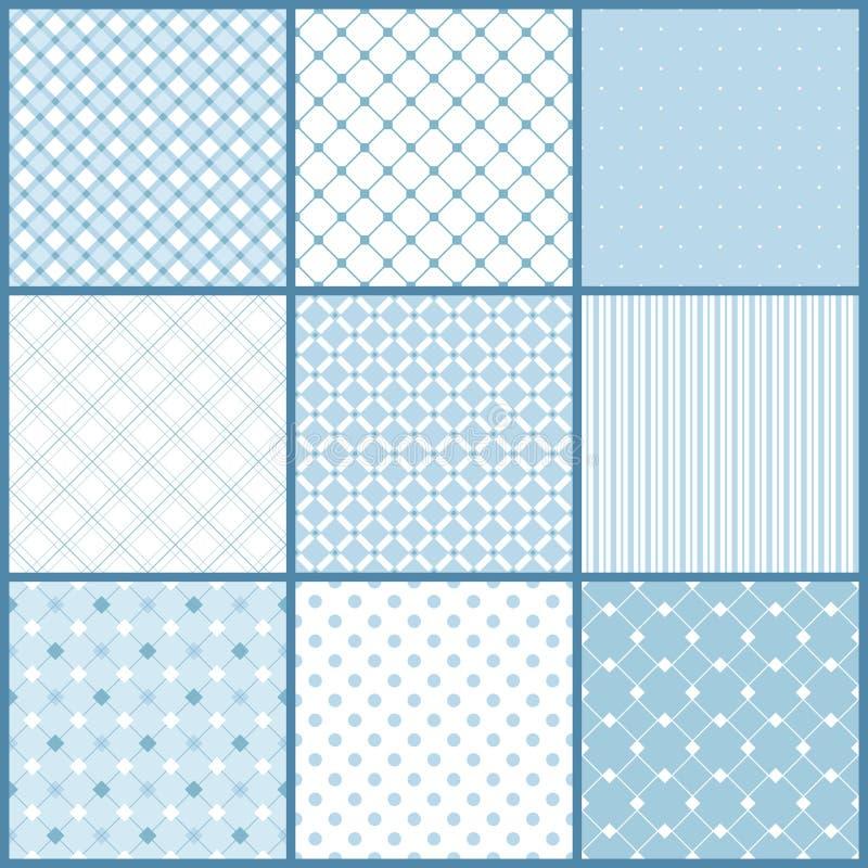 Błękitni bezszwowi wzory ustawiający royalty ilustracja
