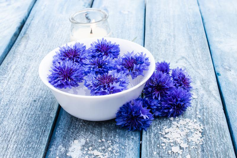 Błękitni cornflowers kłamają w wodzie w białym pucharze blisko płonącej świeczki przeciw tłu błękitne stare deski obrazy royalty free