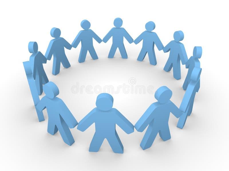 Błękitni 3d ludzie stoi w okręgu ilustracja wektor