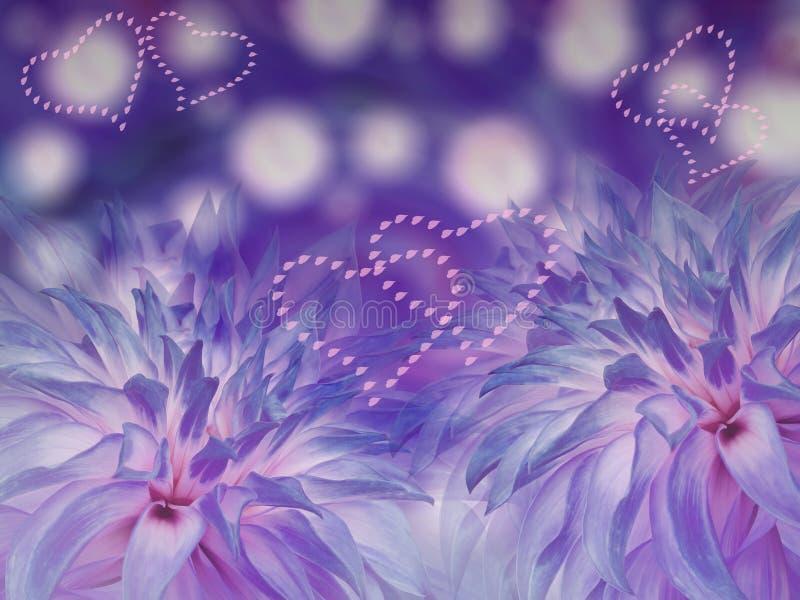 Błękitni dalia kwiaty zamazany błękitny tło kwiecisty jaskrawy skład Karta dla wakacje serce miłości ilustracja wektor