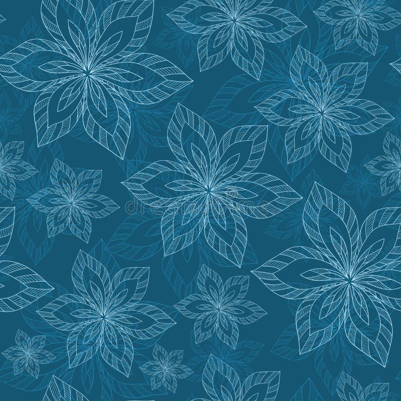 Błękitni duzi kwiaty na błękitnego tła wektorowym bezszwowym abstrakcie h ilustracja wektor