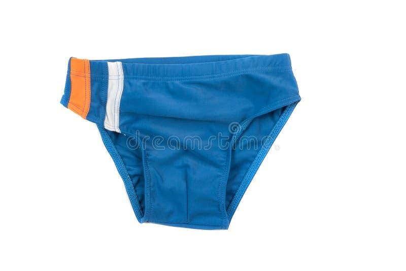 Błękitni dziecka ` s pływaccy bagażniki Kostium kąpielowy dla chłopiec, odizolowywający na bielu fotografia stock